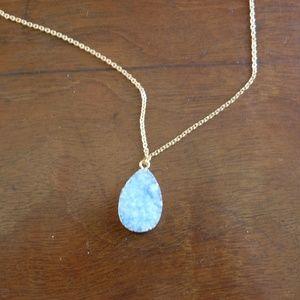 BaubleBar Jewelry - BaubleBar Druzy Pendant Necklace Light Blue & Gold